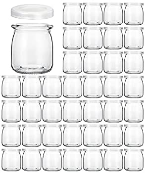 Glass Jars KAMOTA 40 PACK 6 oz Clear Yogurt Jars With PE Lids Glass Pudding Jars Yogurt Jars Ideal for Jam Honey Wedding Favors Shower Favors Baby Foods  200ml