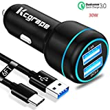 30W Fast Car Charger for Moto G7 G8 Play Plus,G Power/Stylus,Z4 Z3 Z2 Z Z5 Force Edition Droid,G6/G6 Plus,X4,Razr,Motorola One Action Hyper Zoom,MotoG7,motoz4,2 USB Adapter:Quick Charge+2.4A+6FT Cord
