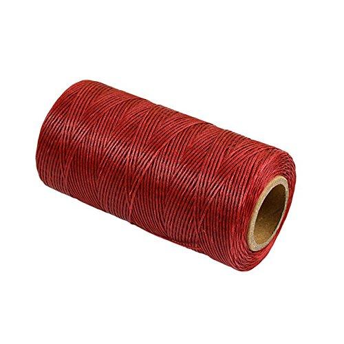Szaerfa Costura de hilo encerado 260m de cuero 1MM para cincel Awl zapatos conjunto de equipaje (Vino rojo)