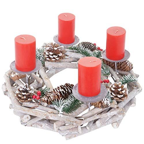 Mendler Adventskranz rund, Weihnachtsdeko Tischkranz, Holz Ø 35cm weiß-grau - mit Kerzen, rot