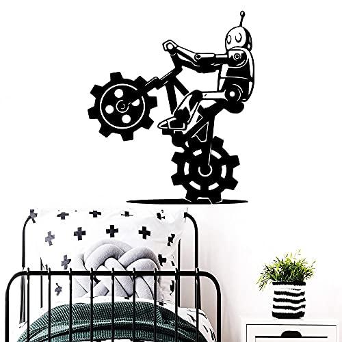 Usmnxo Robot Creativo Bicicleta Vinilo Pegatina Papel Tapiz decoración de habitación de jardín de Infantes calcomanía de Pared decoración de habitación 56x64cm