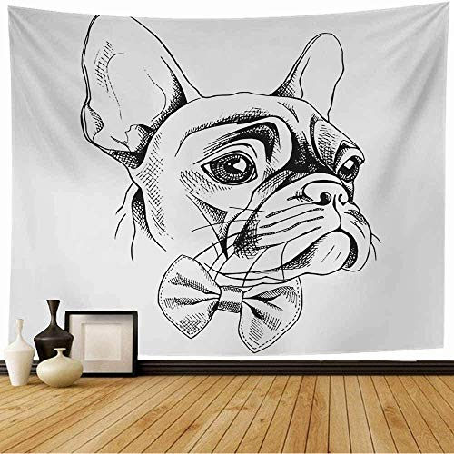 Starogs Tapestry French Isolated in Bulldog Bow Collar Profile Tie Animals Wildlife Beauty Sketch Fashion Frenchie Wall Tapestry Wall Decor Blanket for Bedroom Home Dorm 60x60 Inch