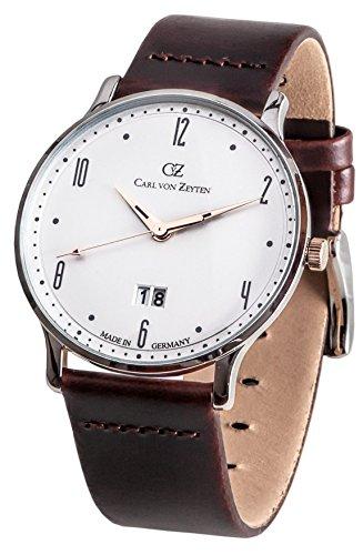 Carl von Zeyten Herren Analog Quarz Uhr mit Leder Armband CVZ0019WH