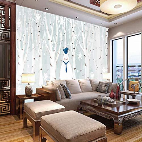 Fotobehang 3D Berkenbos Sneeuwpop, 150X100Cm Non-Woven Muurschildering Fotobehang Kinderen Slaapkamer Woonkamer Decoratie 300x210cm