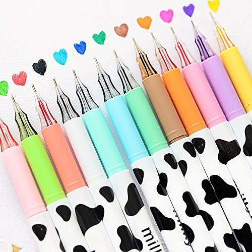 NYKKOLA Diamond Cute Gel Pen Milky Cow Pens,12PCS 0.35mm Extra-Fine Ballpoint Pen Perfect for Office School Supplies Gifts for Boys Girls(Milk 12 Pcs)