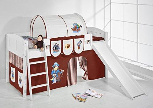 Lilokids Spielbett IDA 4106 Pirat Braun Beige-Teilbares Systemhochbett weiß-mit Rutsche und Vorhang Kinderbett, Holz, 208 x 220 x 113 cm