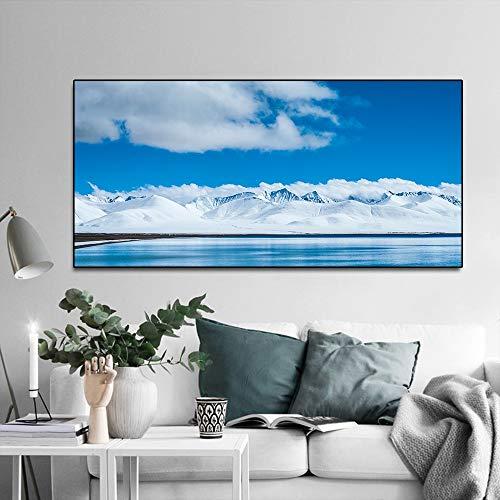 N / A Rahmenlose Malerei Nordische Moderne chinesische Eissee Landschaft Berg Poster und Leinwanddruck Wohnzimmer Kunst WandmalereiZGQ7631 60x120cm