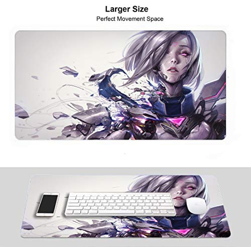 Large Gaming Mouse Pad for League Legends, Waterproof Non-Slip Rubber Anti Slip Rubber Base (Project Fiora)