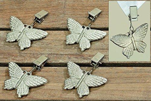 Boltze Tischdeckenbeschwerer Tischdeckengewichte Eisen Silber Schmetterlinge 4er Set