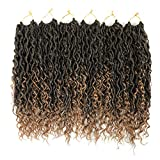 6 Packs/Lot Curly Faux Locs Crochet Hair 18 Inch Goddess Locs Crochet Hair Boho Hippie Locs Synthetic Braids Hair Extensions (18 inch, T1B/27)