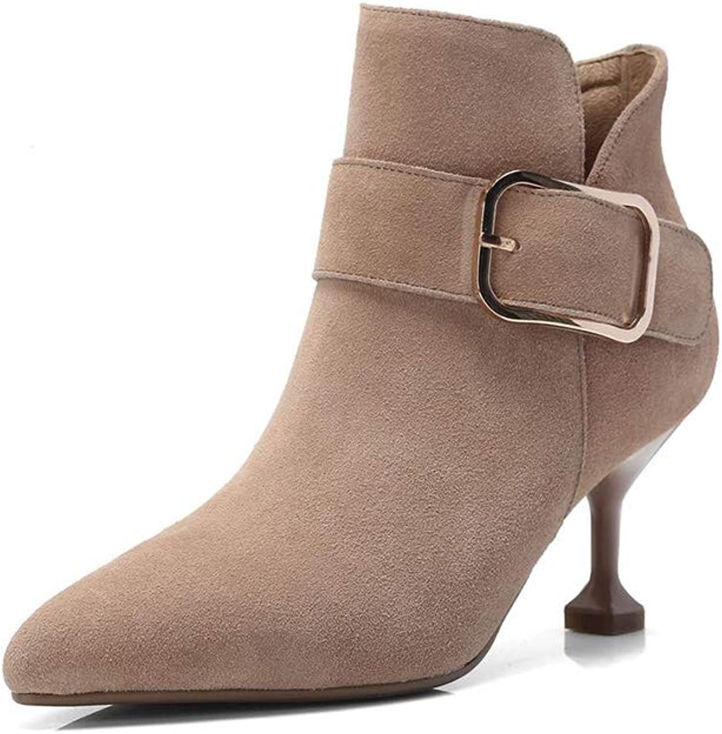 Xiaolin High Heel Women's Ankle Bootie Western Ankle Bootie Low Block Stacked Heel Martin Boots (color   A, Size   US6.5-7 EU37 UK4.5-5 CN37)