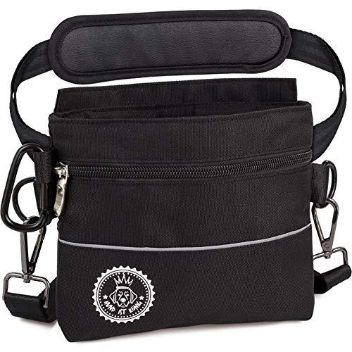 Hunde Leckerlie Tasche mit Einhand-Magnet-Verschluss, 2 Zip-Fächer, herausnehmbare Innentasche, gepolsterte Tragegurte, gratis eBook & Karabiner, perfekt für Agility-Training (Schwarz M)