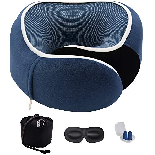 Primari Travel Neck Pillow for Sleeping – 100% Pure Memory Foam – Full 360° Neck Support – Machine Washable Sleeve – Travel Accessories in Gift Box