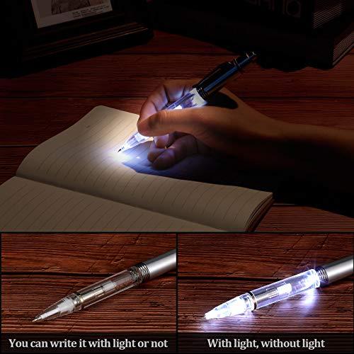 16 Pieces Lighted Tip Pen LED Penlight Light-up Pen Flashlight Writing Ballpoint Pens Metal 2 in 1 LED Light-up Pen for Night Writing (White Light) Photo #6