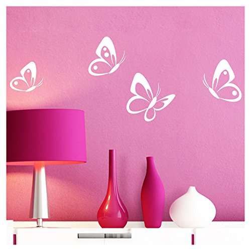 Grandora Wandtattoo 4er Set Schmetterlinge I weiß 8-10 cm I Baby Kinderzimmer selbstklebend Wand Aufkleber Wandaufkleber Wandsticker Sticker W697