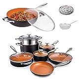 MICHELANGELO 12 Pieces Copper Pots and Pans Set + 5Quart Nonstick Woks and Stir Fry Pans With Lid...