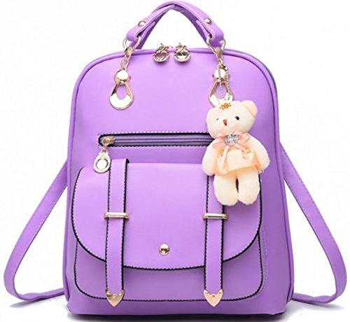 Desconocido Bolso de hombro de la escuela de cuero sintético de la manera de la muchacha de las mujeres Mochila del viaje de la mochila (Púrpura)
