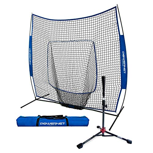 PowerNet Baseball Softball Practice Net 7x7 with Deluxe Tee (Royal Blue)   Practice Hitting, Pitching, Batting, Fielding   Portable, Backstop, Training Aid,Bow Frame   Training Equipment Bundle