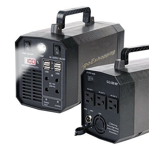 300W Portable UPS Battery Backup,Emergency Rechargeable Power Source Inverter with 110V/300W AC Outlet,12V Car,USB Output for Outdoor,Home use