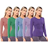 Sexy Basics Women's 5 Pack Casual & Active Basic Cotton Stretch Long Sleeve Round Crew Neck Athletic T-Shirt Tops (5 Pack- Boy Blue, PinkLavender, Dahlia, Arcadia, Ultra Violet, X-Large)