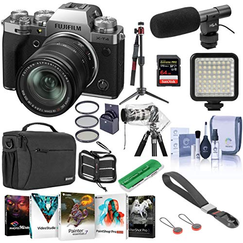 Fujifilm X-T4 Mirrorless Camera with XF 18-55mm f/2.8-4 R LM OIS Lens, Silver - Bundle with Shoulder Bag, 64GB SDXC Card, Shotgun Mic, Table Top Tripod, Mini LED Light, Peak Cuff Wrist Strap and More