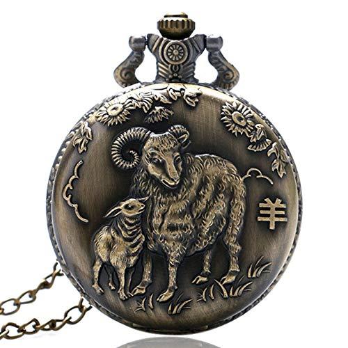 YJRIC Taschenuhr Antike Tieruhr Halskette Anhänger Bronze Chinesischer Tierkreis Gedenkgeschenke Altmodische Bronze Halskette Uhr Taschenanhänger Kette, Ziege