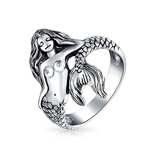 La Vida Del Mar Playa Tropical Náuticas Ninfa Siren Sirena Para La Mujer Anillo De Plata Esterlina 925 Oxidada Banda 2Mm
