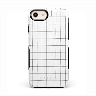 Casely iPhone SE (2020), 8, 7, 6/6s Phone Case - Off The Grid | White & Black Lined Case - 360 Degree Coverage for Your Ph...