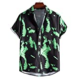 ZAIZAI Vintage estilo étnico Vintage Hombre de impresión Camisa para hombre Cuello de giro de manga corta floja Hawaiano (Color : Green, Size : XL code)