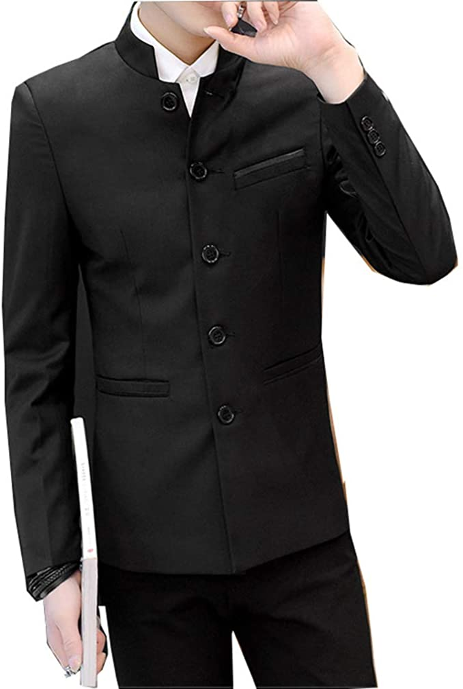 Men's Chinese Tunic Suits Mandarin Collar Formal Jacket Slim Fit Front Button Blazer Traditional Uniform Groom Dress
