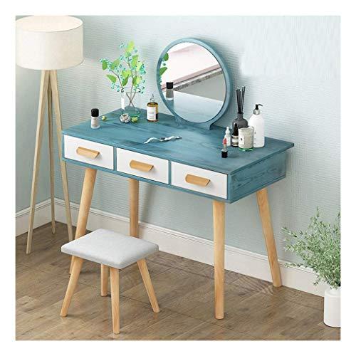 Chunjiao Vanity Dressing Table Set, Make-up Desk Set Spiegel Kommode Schwarz oder Weiß mit Hocker Schlafzimmer Kommode Schminktisch (Color : Blue, Size : 80 * 40 * 75cm)