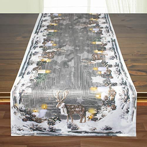 Kamaca Tischläufer Rentiere hochwertiges Druck-Motiv mit wundervollen weihnachtlichen Motiven EIN Schmuckstück auf jedem Tisch zu Winter Advent Weihnachten (Rentiere, Tischläufer 40x140 cm)