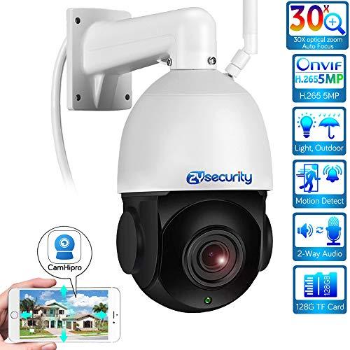 Cámara WiFi PTZ, cámara IP con Zoom 30x, cámara hemisférica CCTV, con Audio bidireccional, visión Nocturna de 60M, detección de Movimiento, Carcasa metálica, Soporte máximo Tarjeta SD de 128 GB