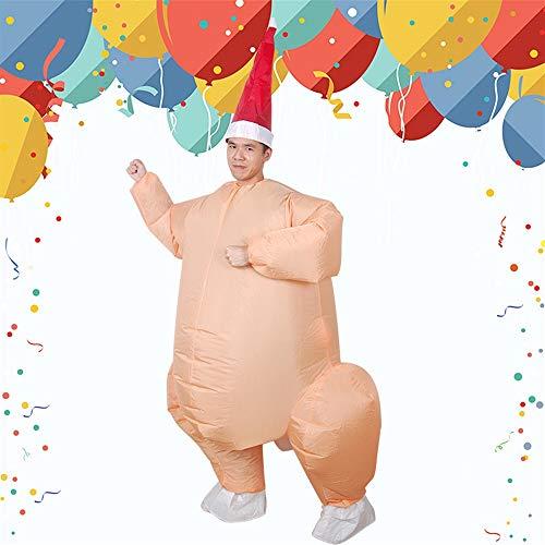 Costumi Di Natale Gonfiabile Gonfiabile Tacchino Arrosto Costume Di Pollo Per Adulti Natale Gonfiabile Del Vestito Operato Della Mascotte Cosplay Abbigliamento (Adatto A 150-190CM)