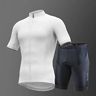 Cycling Jersey Men's Short Sleeve Cycling Jersey and 3D Padded Shorts Set White Quick-Drying Breathable Cycling Jersey Sho...