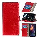 TOPOFU Handyhülle für UMIDIGI A3S Hülle, Premium PU Lederhülle Crystal Simple Style Schutzhülle mit Magnetisch und Kartenschlitz,Klapphülle Handytasche Flip Hülle Cover-Rot