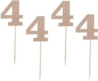 """Glitter Rose Gold 4th Birthday Party Cupcake Toppers. 24 Pack Number""""4"""" Cupcake Toppers"""