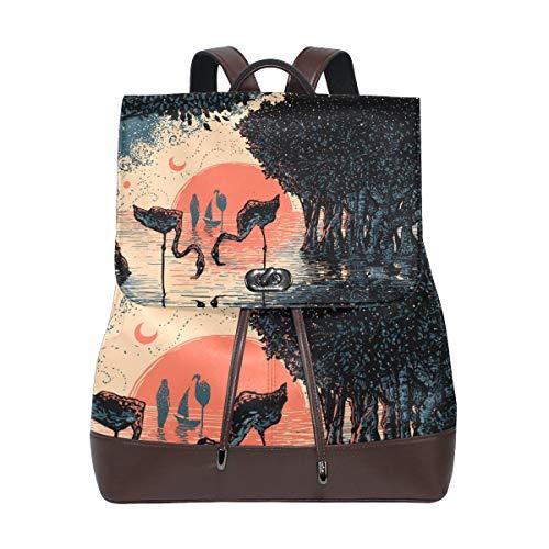 MONTOJ Mangrove Forest Flamigo Coucher de soleil Peinture cuir Sac de voyage Campus Sac à dos