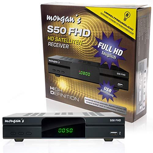 Morgan's S50 FHD digitaler Satelliten Sat-Receiver (HDTV, DVB-S2, HDMI, SCART, USB 2.0, Full HD 1080p, LAN Anschluss) [vorprogrammiert für Astra] mit Aufnahme und Timeshift – schwarz