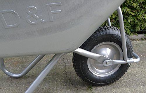 Schubkarre 200Kg für Garten, Bau und Stall mit Stahlfelge, Vollverzinkt, Pulverbeschichtet - 5