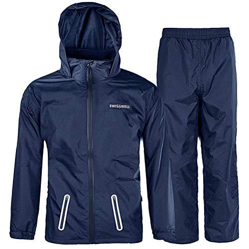 SWISSWELL Kids Rain Gear Boys Waterproof Breathable Rain Suit Girls Raincoat with Hood Navy Blue Size 14