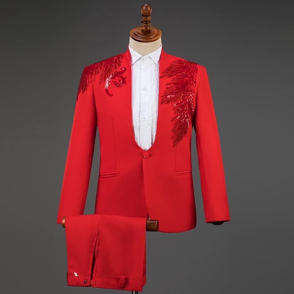 HBIN Suits for Men Tuxedo Men Suit Set Fashion Party Mens Suits with Pants Homme (Color : Red, Size : Asian XXL)