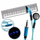 DURAGADGET Auriculares In-Ear con Luz LED Azul para Teclado/Piano Eléctrico Yamaha NP-V80 NPV-80, Yamaha P-105B, Yamaha P-115B, Yamaha P-115WH, Yamaha P-45B - ¡Las Luces Bailan Al Ritmo De Su Música!