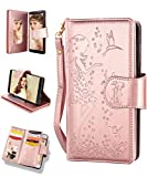 FLYEE Case Compatible with Galaxy Note 9 (6.4 inch,Released 2018),Wallet Case for Women and Girls with Card Holder and Mirror,9 Cards Slots Premium Leather Flip Magnetic Protective case - Rose Gold