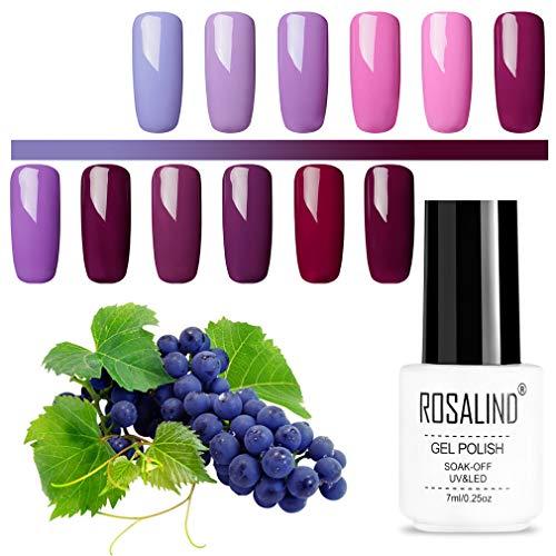 ROSALIND Gel Nagellack Set Violett Serie Gellack UV Semipermanent Soak Off mehrfarbig hochwertiger Nail Salon Sets 12 Stück 7ml