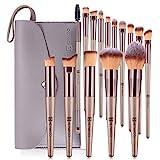 メイクブラシHEYMKGO 15本シャンペンカラーのプロのメイクアップアーティストや初心者のためのメイクアップツール、高品質の繊維毛を使用し、上質な化粧筆収納袋付き
