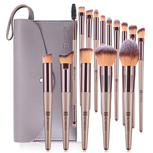 HEYMKGO Pennelli Make Up professionali Set di 15 pennelli trucco champagne, setole morbide e manici affusolati, con trousse in pelle PU set pennelli make up