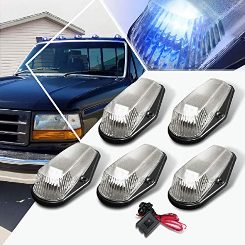 5Pcs-Set Blue LED Cab Roof Running Light w/Switch Compatible with Ford F150-F350 80-96,Top Marker Light Chrome Housing