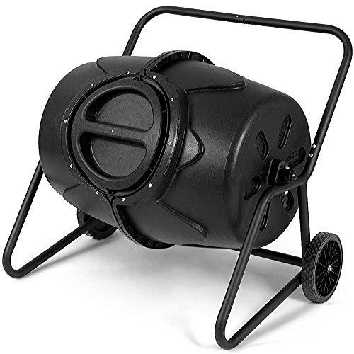 Find Bargain Compost Tumbler Removable 50 Gallon Recycled Plastic Drum Compost Waste Bin Grass Food ...
