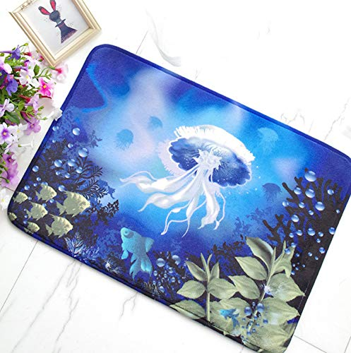 GjbCDWGLA badmat diepblauw, zeekwallen, wit, antislip, anti-schimmel vorm, zacht, voor badkamer, woonkamer, keuken, slaapkamer, 50 x 80 cm